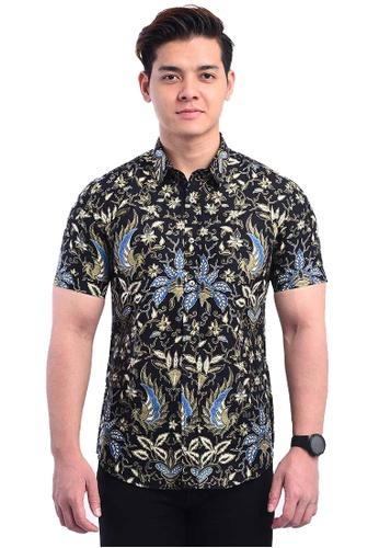 UA BOUTIQUE black Short Sleeve Shirt Batik UASSB80-011 (Black/ Blue) 8CE34AA6848F09GS_1