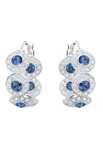 Swarovski blue and silver Angelic Hoop Pierced Earrings DA174ACF155628GS_1