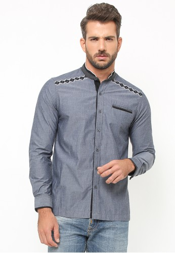 LGS grey LGS - Baju Koko - Lengan Panjang - Bordir Hitam - Satu Kantong -
