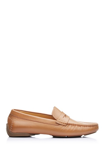 BONIA brown Men Brown Embossed Penny Loafers A2D69SH9D3ECEAGS_1