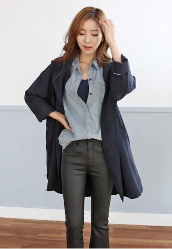 寬鬆版型開zalora時尚購物網的koumi koumi放式外套, 服飾, 外套