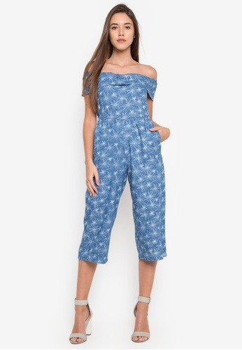 b3be748a02 Shop Pois BARDOT STYLE JUMPSUIT IN PRINTED CHAMBRAY Online on ZALORA  Philippines