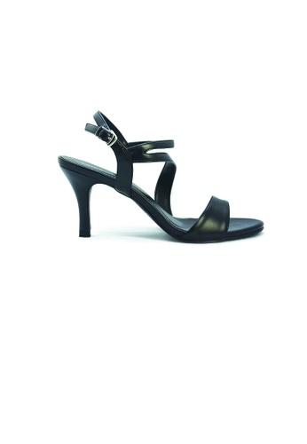 SHINE black Strapy Slingback Sandal Heels SH554SH0GE7XSG_1