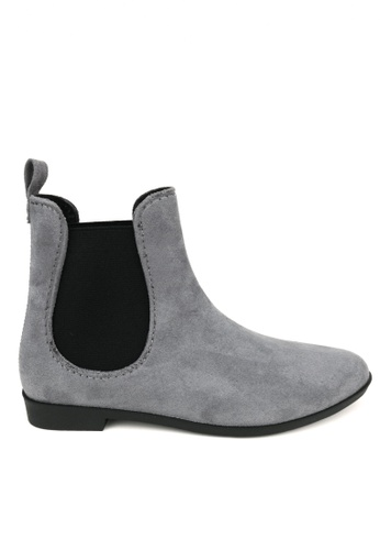Twenty Eight Shoes grey Slim Synthetic Suede Raining Plastic Boot 903 D72F2SHED87B81GS_1