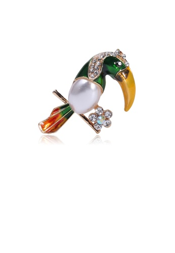 Glamorousky white Fashion Personality Green Parrot Brooch with Cubic Zirconia ED699AC724C4D0GS_1