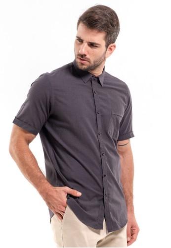 MANLY grey MANLY Kemeja Slim Fit Plain Kona Dark Grey Short Sleeve RL 2E501AA6C61AE9GS_1