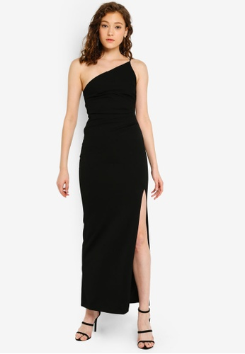 ad3ba17070 Miss Selfridge black Black One Shoulder Split Maxi Dress 2955EAAB34582EGS_1