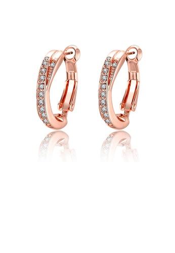 Glamorousky white Elegant Plated Rose Gold Geometric Round Cubic Zircon Earrings 8D0E1AC6BB808EGS_1