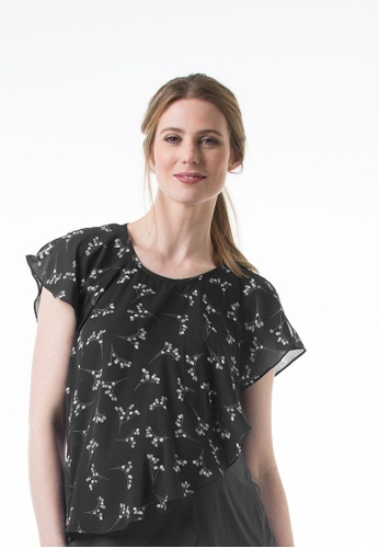 Bove by Spring Maternity black Woven Short Sleeved Clancy Overlap Top Sprigs Black 01A9BAA9FB9997GS_1