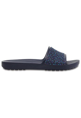 Crocs navy Women's Crocs Sloane Embellished Slides Nvy/Tur CR883SH0RMUXMY_1