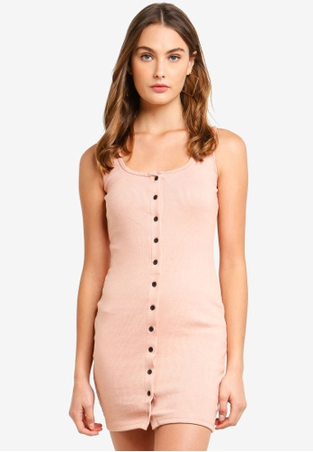 MISSGUIDED pink Ribbed Round Neck Button Through Bodycon Dress 6DE41AA5452420GS_1
