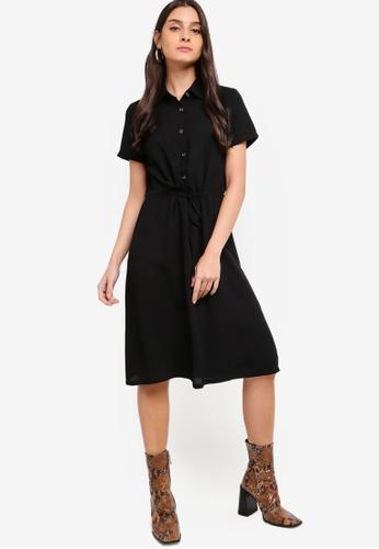 ZALORA black Short Sleeves Drawstring Shirt Dress 9EAB5AA260278EGS_1