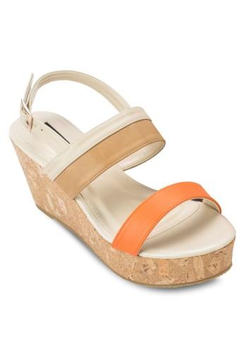 撞色繞踝厚底涼鞋,esprit台灣 女鞋, 楔形涼鞋