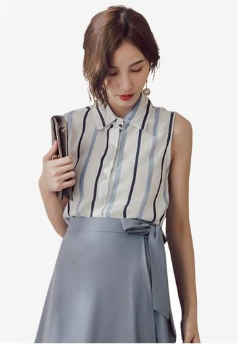 Yoco blue Vertical Stripe Sleeveless Blouse 013C0AA9C62093GS_1