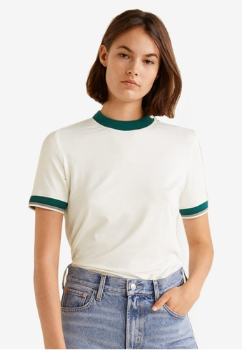 Mango white Contrast Edge T-Shirt FB2E4AA2F7660DGS_1