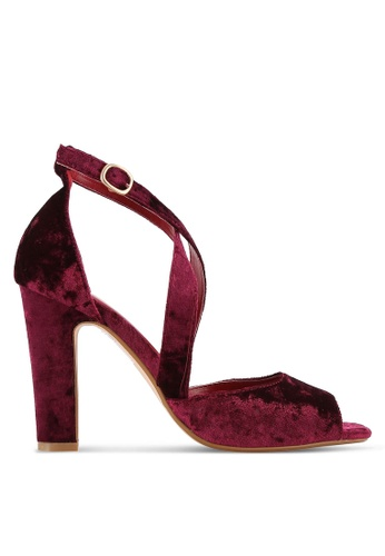ZALORA red Velvet Cross Strap Pumps 328DBSH136EE06GS_1
