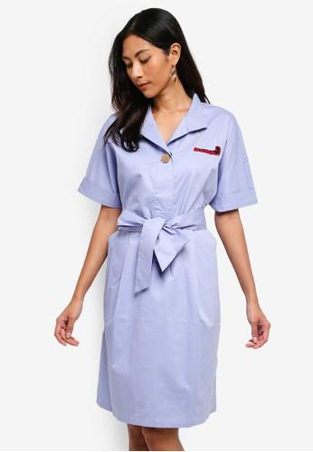 Hopeshow blue Long Shirt Dress With Tie Belt 2D3F7AA0D61B71GS_1
