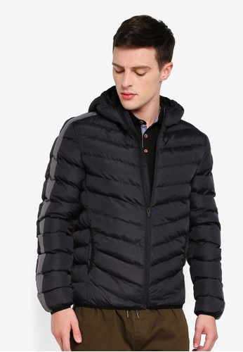 Brave Soul black Hooded Padded Jacket 8CD55AAB2548A6GS_1