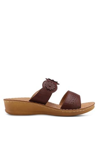 Noveni 褐色 花卉楔型鞋 A55D7SHAAF86EAGS_1