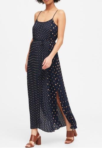 Banana Republic navy Petite Polka Dot Pleated Maxi Dress 9617DAAE1DB211GS_1
