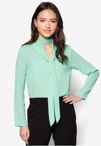 Sharon V領zalora 鞋評價繫帶長袖上衣, 服飾, 服飾