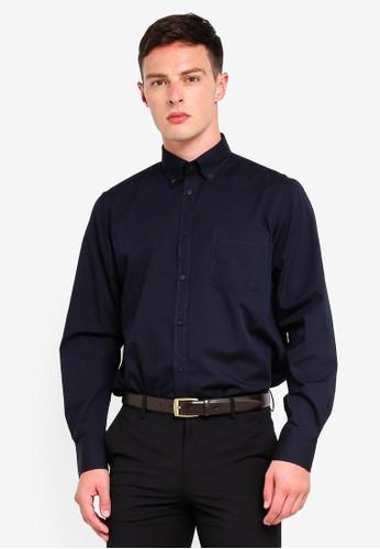 OVS blue and navy Long Sleeve Formal Shirt 97DE8AA2F48859GS_1