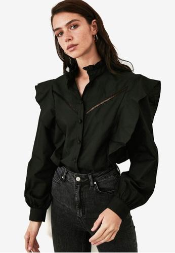 Trendyol black Openwork Ruffle Detail Shirt B88FAAA7A1B7B6GS_1