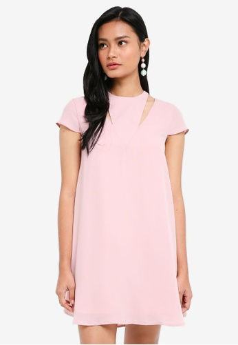 48b8c3841d416b Something Borrowed pink Cap Sleeve Cut Out Swing Dress 32D22AA57A661EGS_1