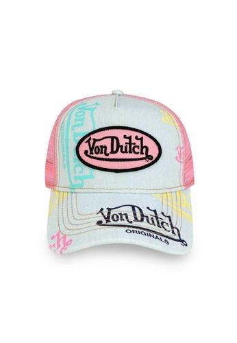 Von Dutch pink and blue Von Dutch Light Denim Pink Logo Trucker Cap 76761AC80F229AGS_1