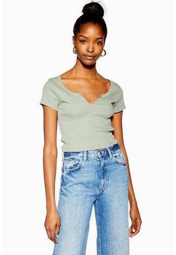 0f6518d626b90d Shop TOPSHOP Notch Short Sleeve T-Shirt Online on ZALORA Philippines