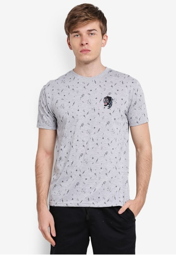 Penshoppe grey Relaxed Fit Tee With Embroidery PE124AA0SN1FMY_1