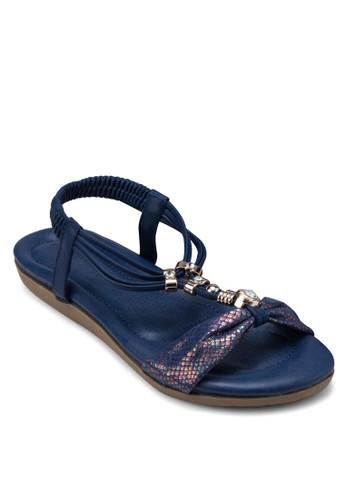 金屬飾T字帶繞踝涼鞋, 女鞋,esprit 童裝 鞋