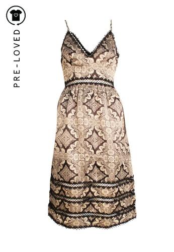 Zimmermann black Pre-Loved zimmermann Bronze Printed Black High Waist Dress with Lace Cuts. 17F22AA7EB1DFAGS_1