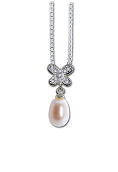Pearl and Butterfly Shape Silverstone Pendant