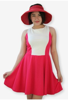 Hot Pink Color Block Fit and Flare