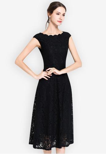 Sunnydaysweety black Lace Sweetheart Wave collar Short Sleeve One Piece Dress 91661AA93D3B47GS_1