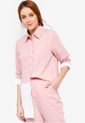 Zalia pink Colour Block Shirt 0F603AAC017376GS_1