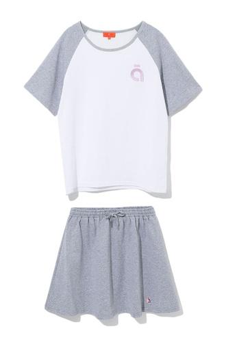 tout à coup grey Logo embroidered tee and skirt set BDA99AAEB690FAGS_1