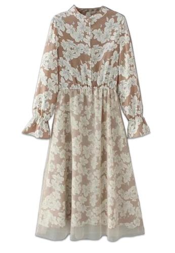Sunnydaysweety brown Flower Sleeve One Piece Dress SU443AA14BCNHK_1
