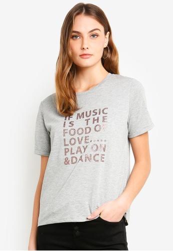 ESPRIT grey Shimmer Graphic T-Shirt 58CF7AA5E097B4GS_1