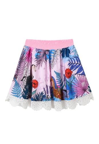 FILA pink FILA KIDS Rhinestone F-box Logo Theme Printed Cotton Skirt 8-15yrs A798EKA06F8FBFGS_1
