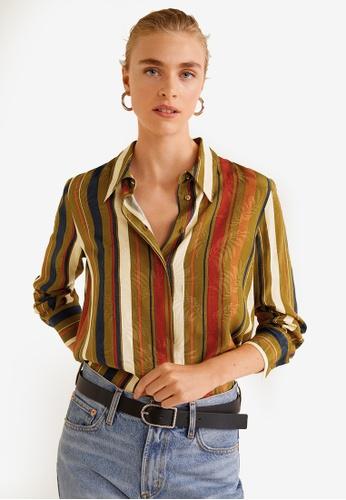 Mango green Striped Textured Shirt 8262BAAD3340B1GS_1