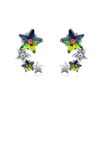 Glamorousky multi 925 Sterling Silver Star Stud Earrings with Austrian Element Crystal 51489AC5846D5BGS_1