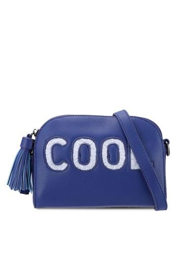 Something Borrowed blue Wording Half Moon Sling Bag with Tassel 68FBFAC0B5D0D8GS_1