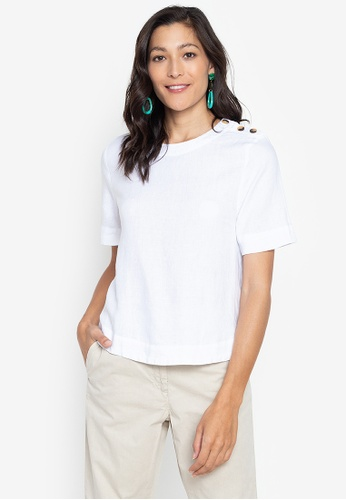 MARKS & SPENCER white Pure Linen Button Detailed Blouse 51A6BAACEF94BCGS_1