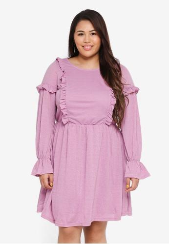 Junarose purple Plus Size Dilara Above Knee Dress B642EAA9D8AAB0GS_1