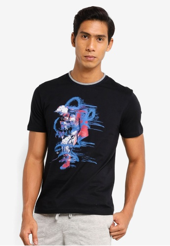 UniqTee black Neon Astronaut Graphic Tee with Contrast Collar 345DAAADFA5E28GS_1