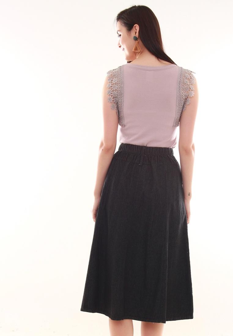 Black Denim Panel Skirt JOVET Skirt Denim Black Panel JOVET JOVET 50qRnw6