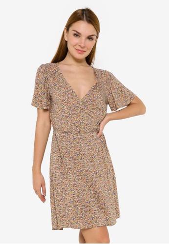 JACQUELINE DE YONG multi Staar Life Short Sleeve Wrap Dress D8AD6AAD9E8101GS_1