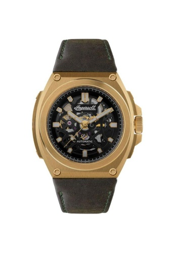 Ingersoll black Ingersoll The Motion Automatic Gold Stainless Steel I11701 Black Leather Strap Men's Watch 0EC3FACB3AD822GS_1